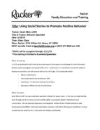 FET - Flyer Social Stories - Racker - Ithaca NY - Using Social Stories to Promote Positive Behavior - Behavior Specialist - Carol Grey - Racker Family Education and Training