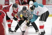 Racker Rivals Big Red - Ice Hockey Face Off - Cornell University - Lynah Rink - Cole Bardreau - Dustin Brown