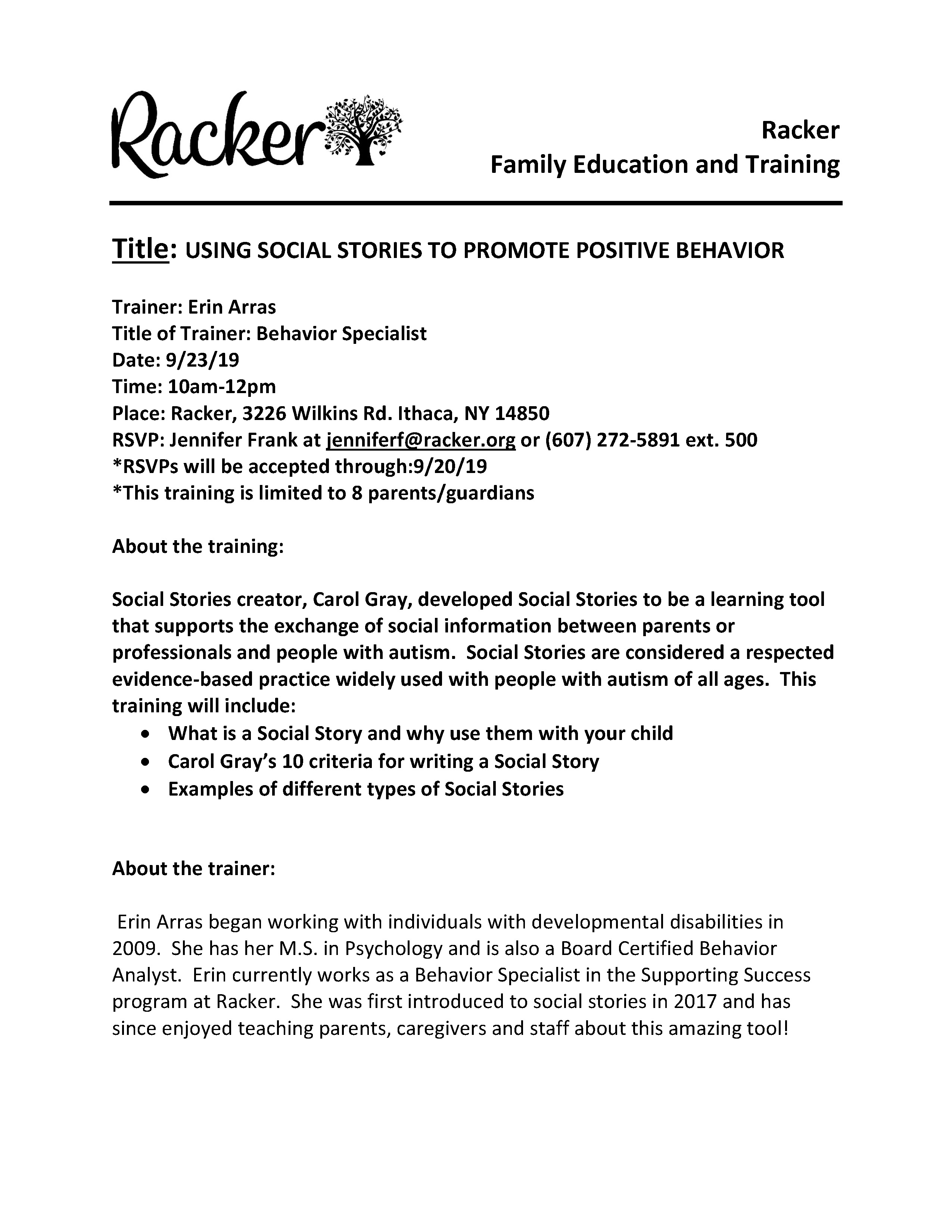 Using Social Stories to Promote Positive Behavior - Racker Family Education and Training