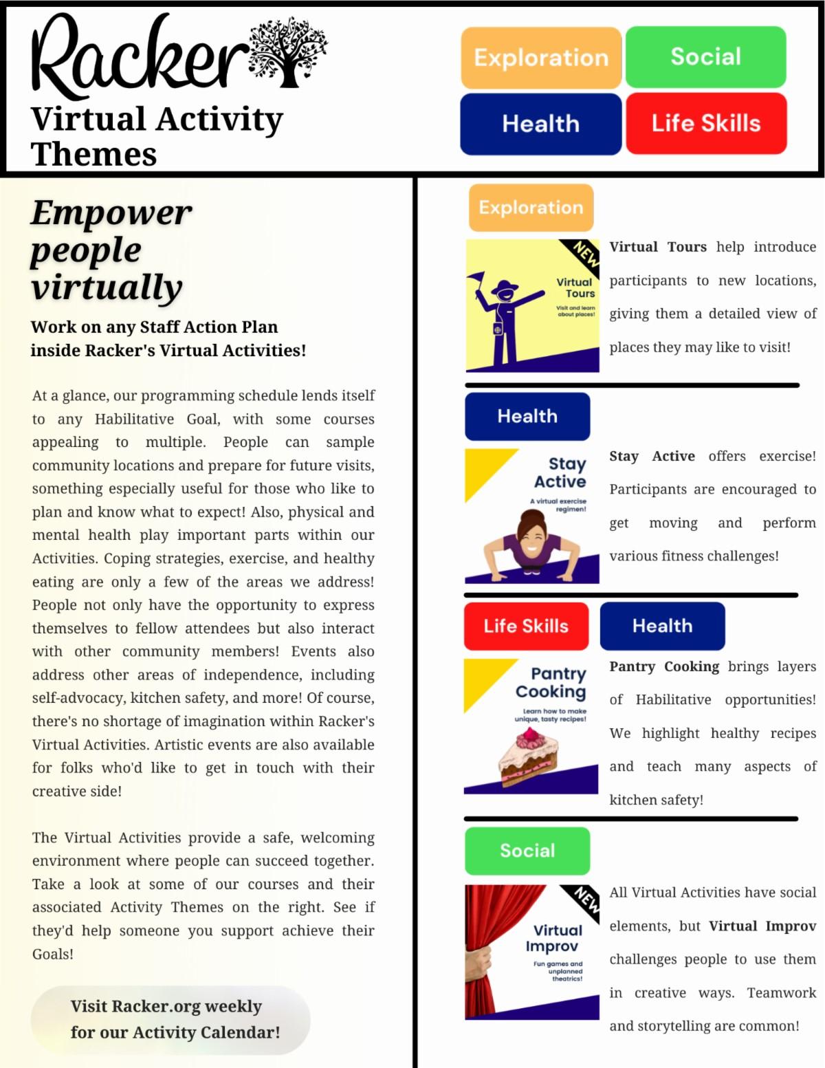 Rackers Virtual Activities link to goals